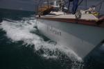Bow view sailing